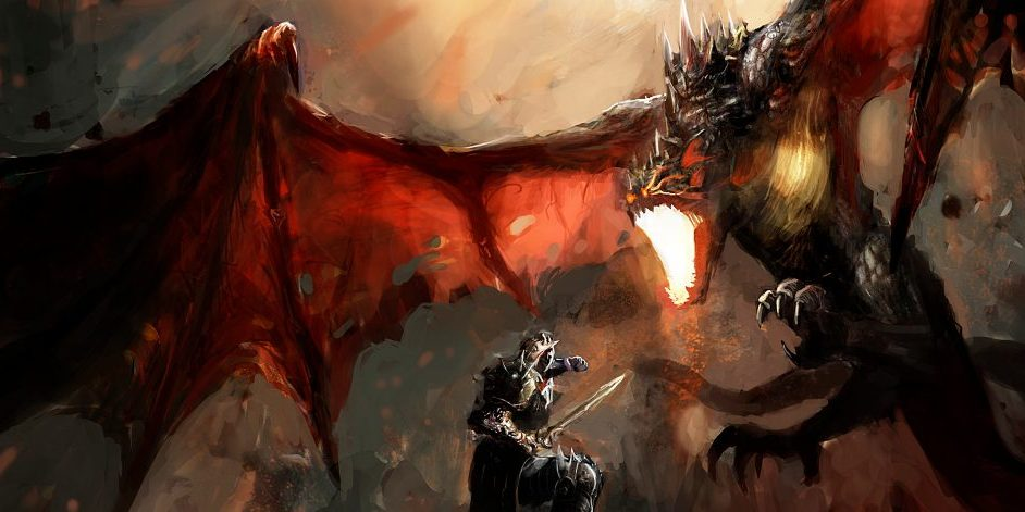 fantasy-scene-knight-fighting-dragon-by-fotokostic-via-shutterstock